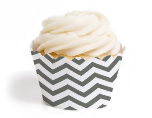 Dress My Cupcake Standard Cupcake Wrappers, Chevron, Grey, Set of 12